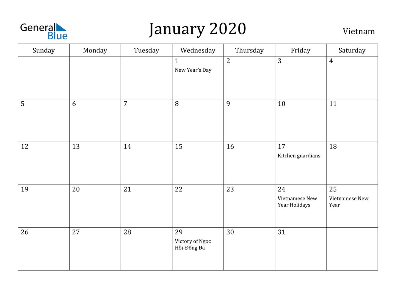 Image of January 2020 Vietnam Calendar with Holidays Calendar