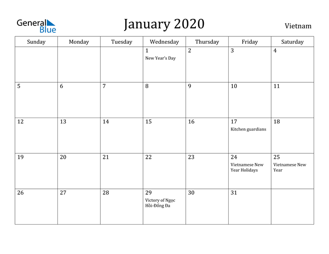 Image of January 2020 Vietnam Calendar with Holidays Calendar