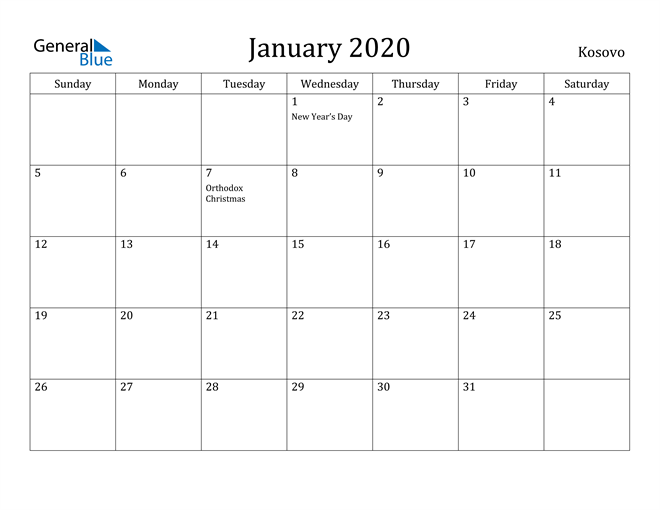 Image of January 2020 Kosovo Calendar with Holidays Calendar