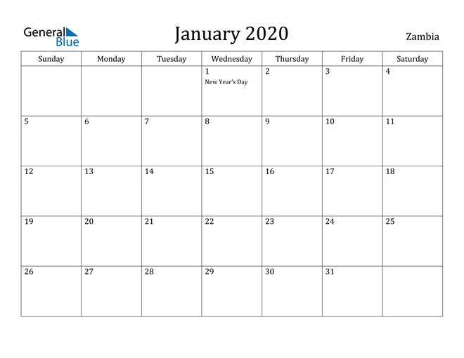 Image of January 2020 Zambia Calendar with Holidays Calendar