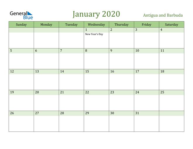 January 2020 Calendar with Antigua and Barbuda Holidays