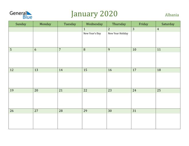 January 2020 Calendar with Albania Holidays