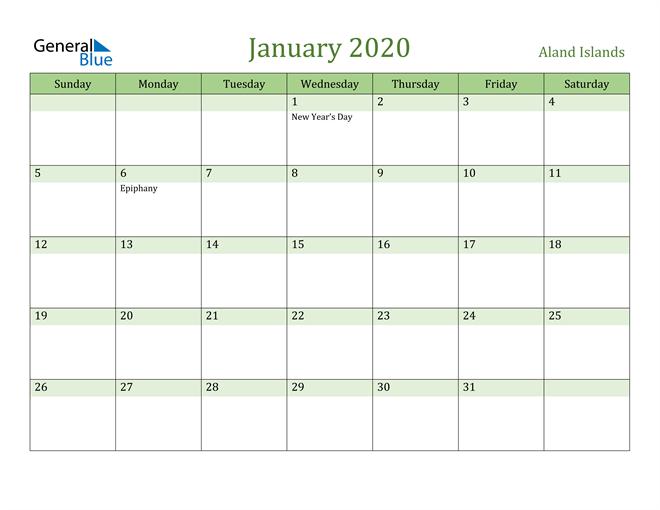 January 2020 Calendar with Aland Islands Holidays