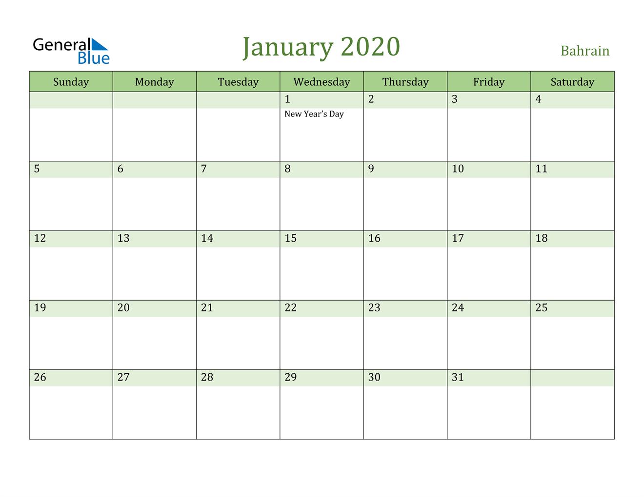 Image of January 2020 Cool and Relaxing Green Calendar Calendar