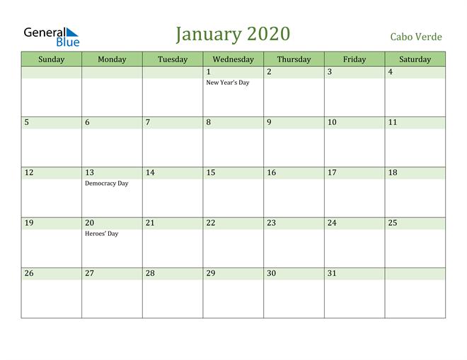 January 2020 Calendar with Cabo Verde Holidays