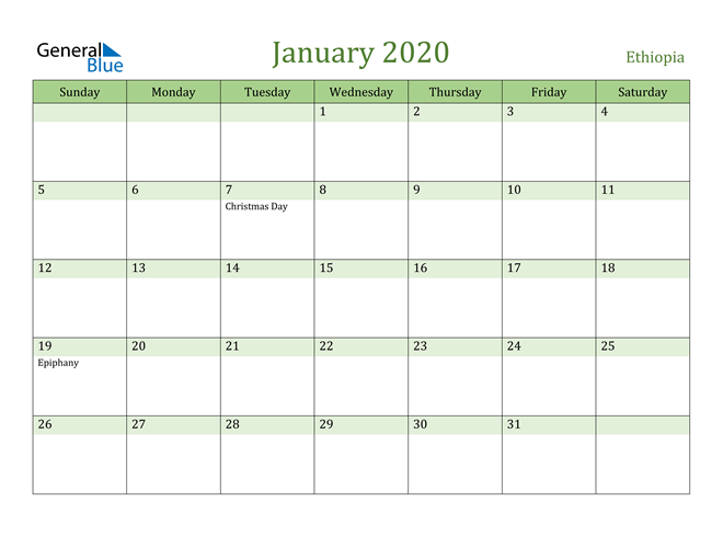 January 2020 Cool and Relaxing Green Calendar Calendar