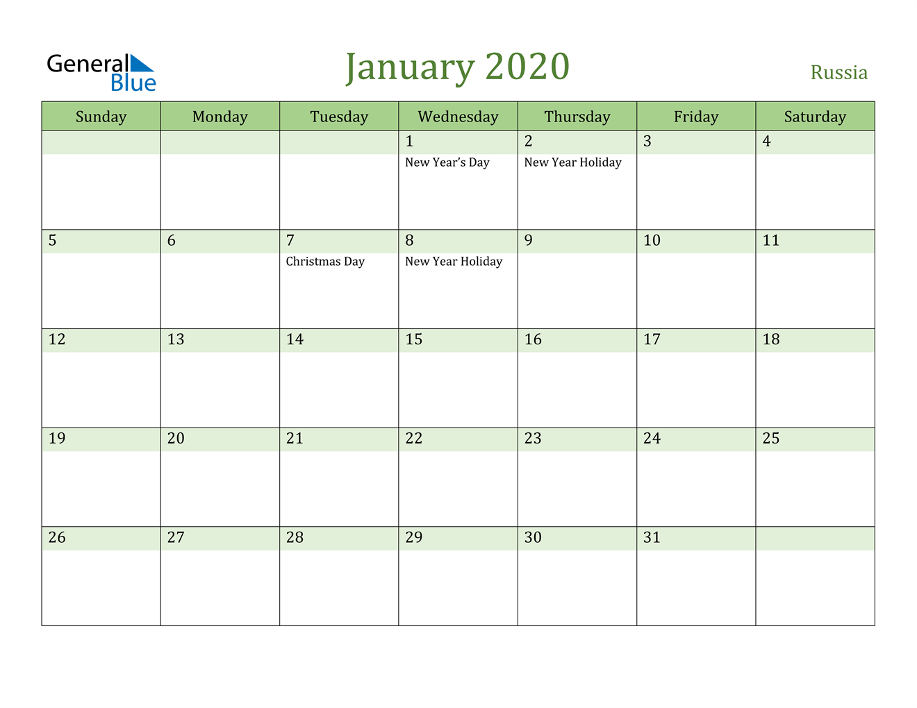 Image of January 2020 Cool and Relaxing Green Calendar Calendar