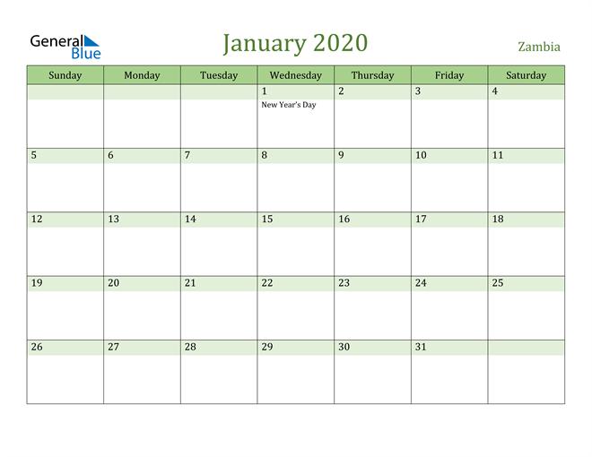 January 2020 Calendar with Zambia Holidays
