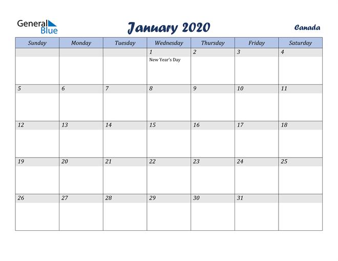 January 2020 Calendar with Holidays