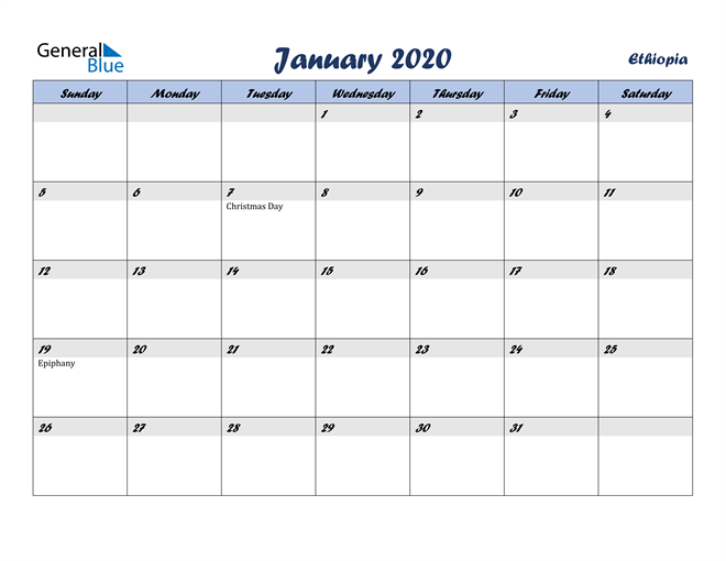 January 2020 Italicized and Cool Blue, A Fun Calendar in PDF, Word and Excel Calendar