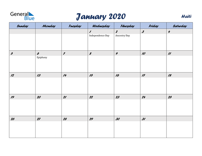 Image of January 2020 Italicized and Cool Blue, A Fun Calendar in PDF, Word and Excel Calendar