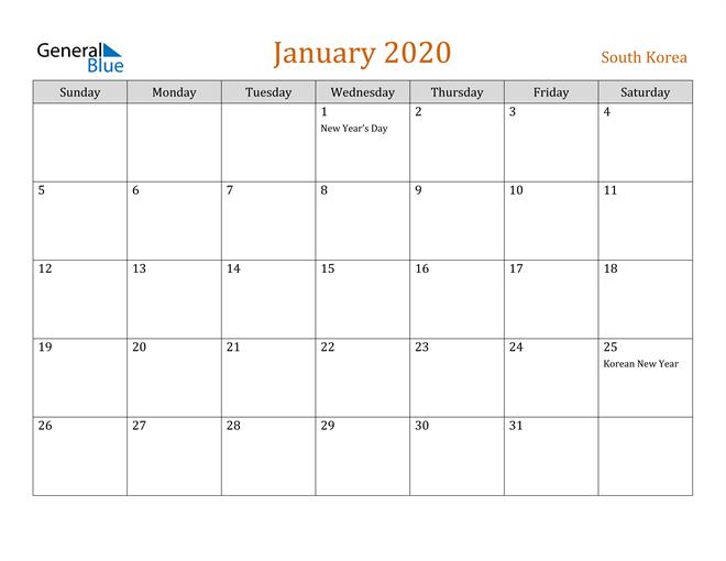January 2020 Holiday Calendar