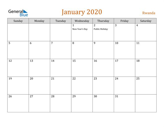January 2020 Contemporary Orange PDF, Word and Excel Calendar Calendar