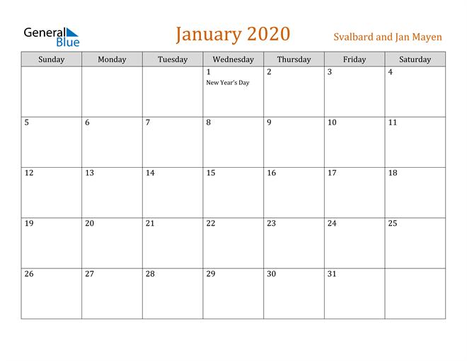 Image of January 2020 Contemporary Orange PDF, Word and Excel Calendar Calendar