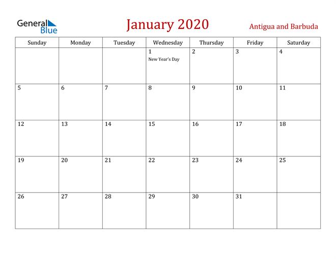 Antigua and Barbuda January 2020 Calendar