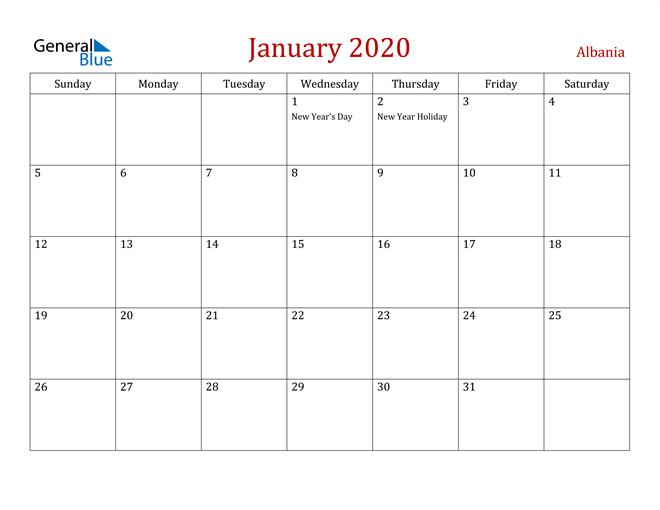 Albania January 2020 Calendar