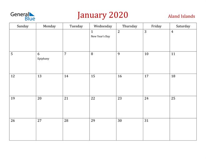 Aland Islands January 2020 Calendar