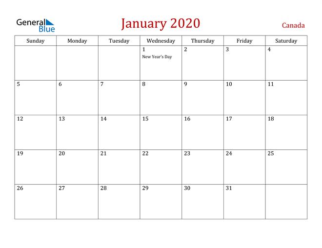 Canada January 2020 Calendar