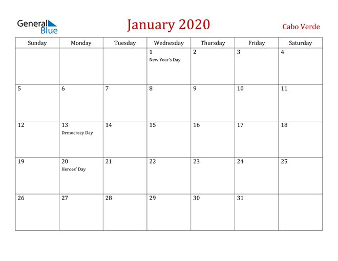Cabo Verde January 2020 Calendar