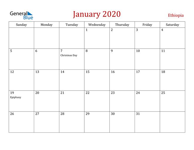 January 2020 Dark and Red Professional Office Calendar Calendar