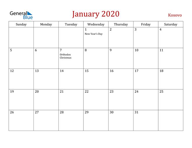 Kosovo January 2020 Calendar