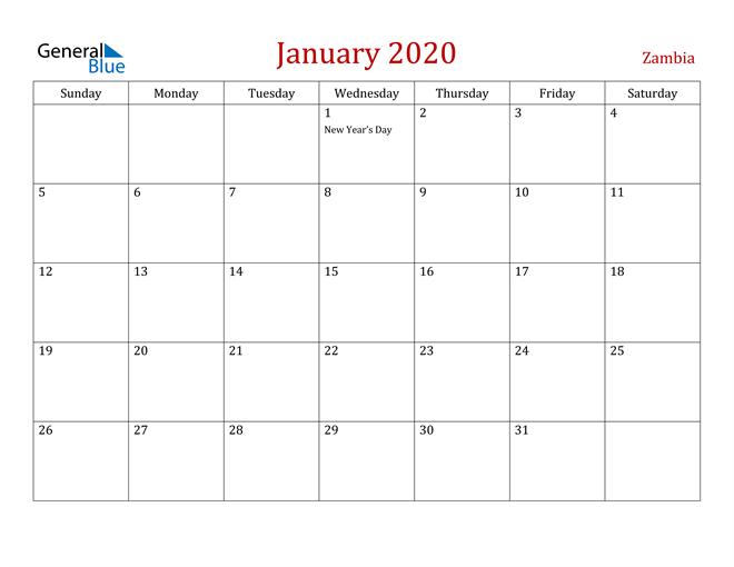 Zambia January 2020 Calendar