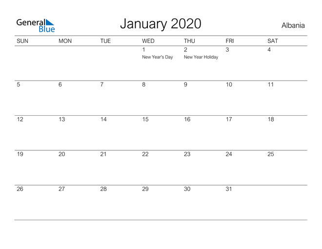 Printable January 2020 Calendar for Albania