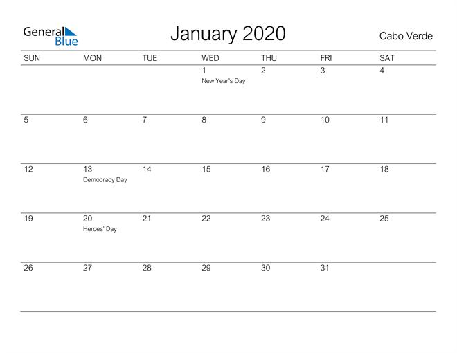 Printable January 2020 Calendar for Cabo Verde