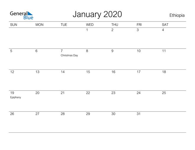 January 2020 A Streamlined Design, The Perfect Printable Calendar. Calendar