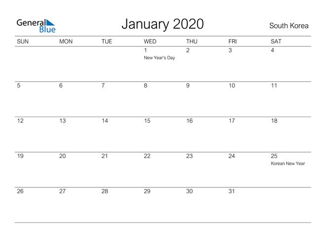 Printable January 2020 Calendar for South Korea