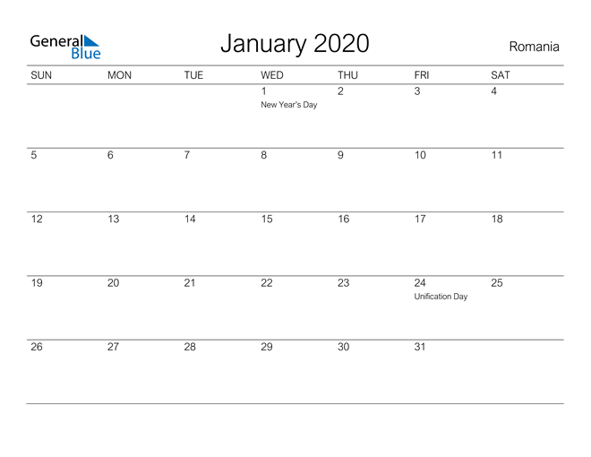 Printable January 2020 Calendar for Romania