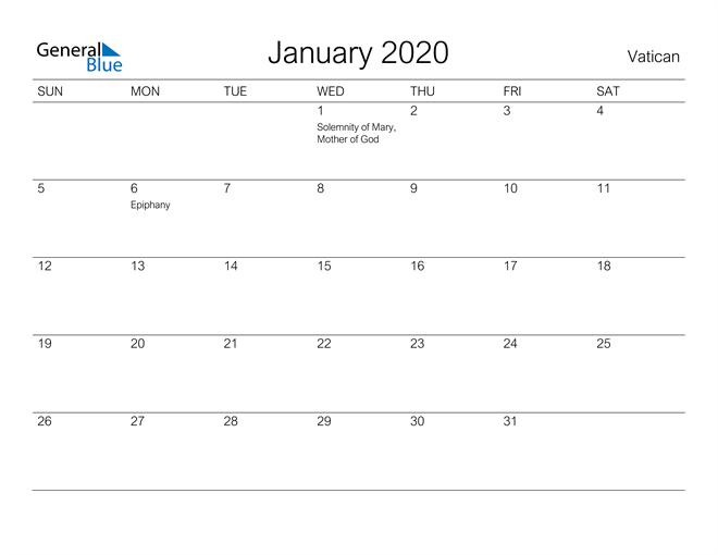 Printable January 2020 Calendar for Vatican