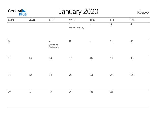 Printable January 2020 Calendar for Kosovo