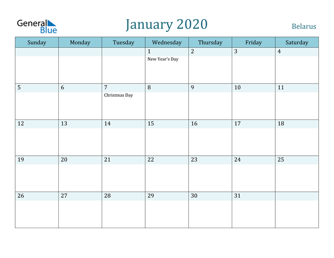 Image of January 2020 Colorful Turquoise Calendar in PDF, Word and Excel Calendar
