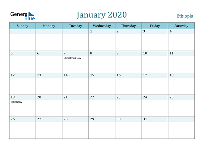 January 2020 Colorful Turquoise Calendar in PDF, Word and Excel Calendar