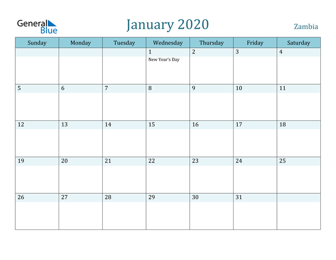 January 2020 Calendar with Holidays in PDF, Word, and Excel