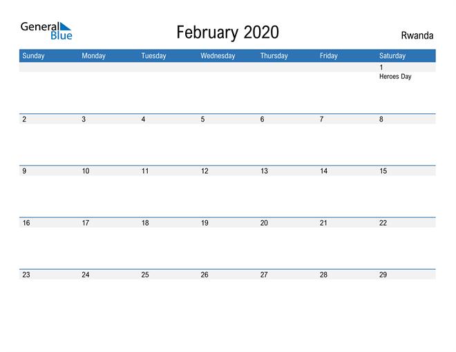 Fillable February 2020 Calendar