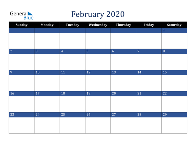 February 2020 Stylish Dark Blue Calendar in PDF, Word and Excel