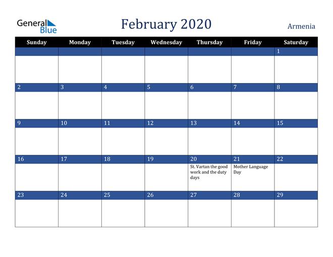 Image of February 2020 Stylish Dark Blue Calendar in PDF, Word and Excel Calendar