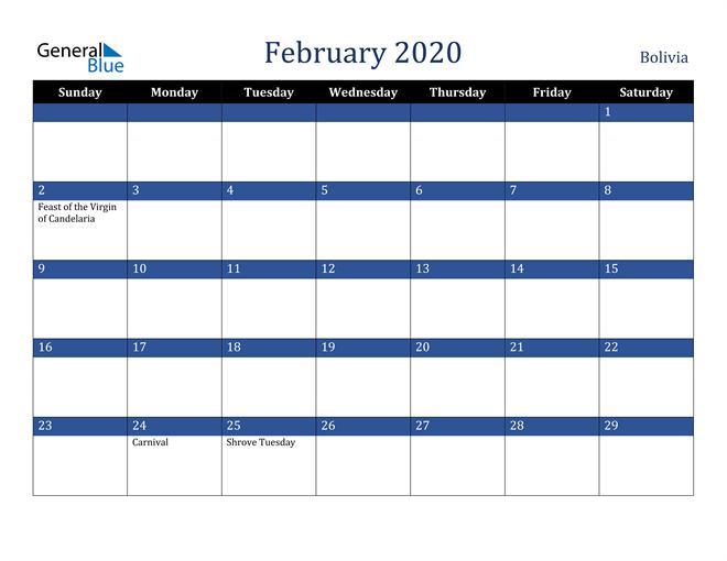 February 2020 Bolivia Calendar