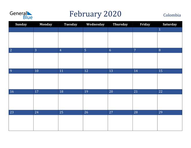 February 2020 Colombia Calendar
