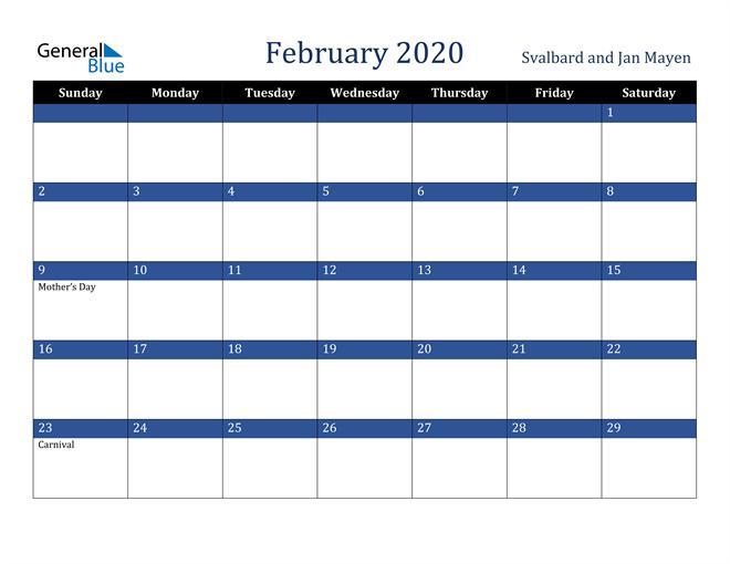 February 2020 Stylish Dark Blue Calendar in PDF, Word and Excel Calendar