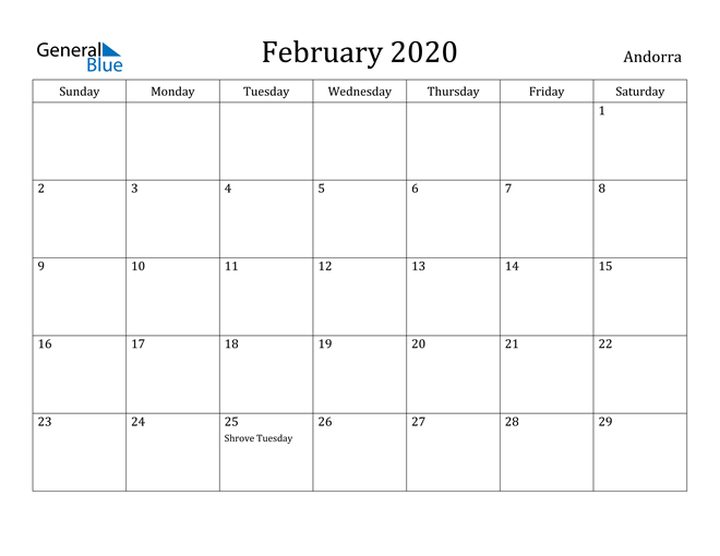 Image of February 2020 Andorra Calendar with Holidays Calendar