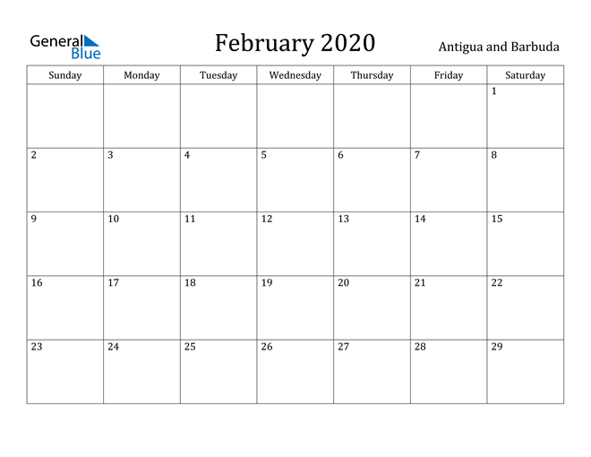 Image of February 2020 Antigua and Barbuda Calendar with Holidays Calendar
