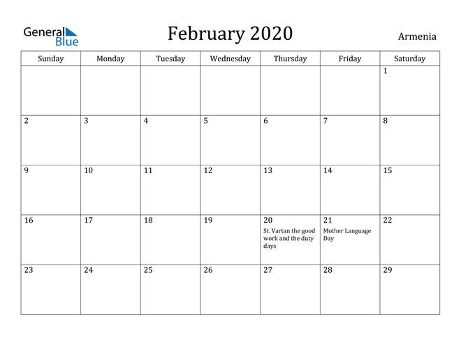 Image of February 2020 Armenia Calendar with Holidays Calendar