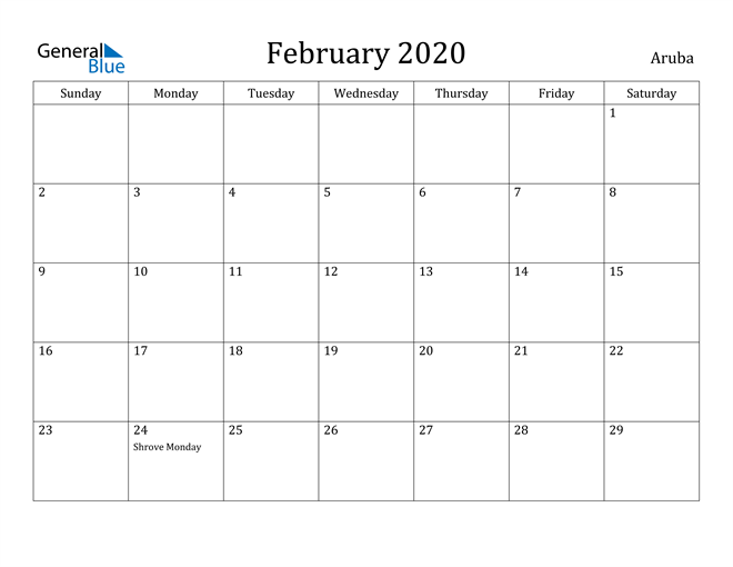 Image of February 2020 Aruba Calendar with Holidays Calendar