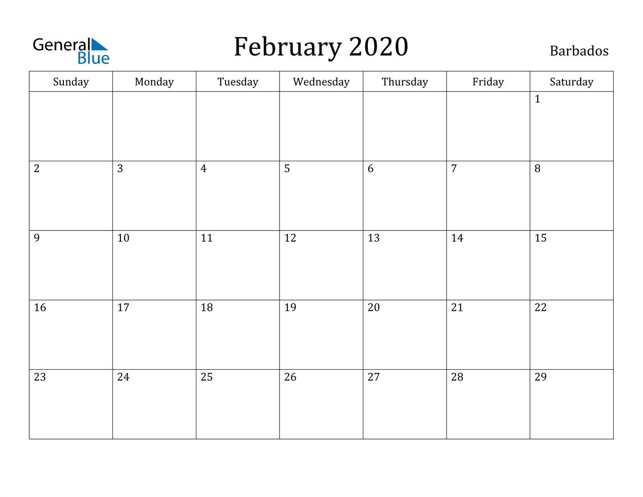 Image of February 2020 Barbados Calendar with Holidays Calendar