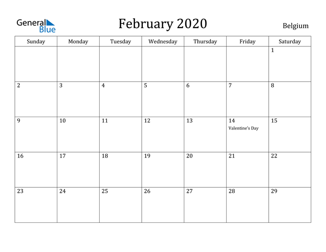Image of February 2020 Belgium Calendar with Holidays Calendar