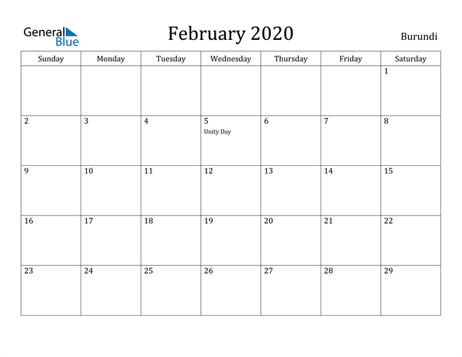 Image of February 2020 Burundi Calendar with Holidays Calendar