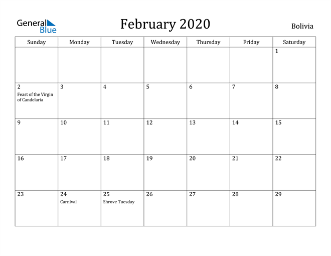 Image of February 2020 Bolivia Calendar with Holidays Calendar